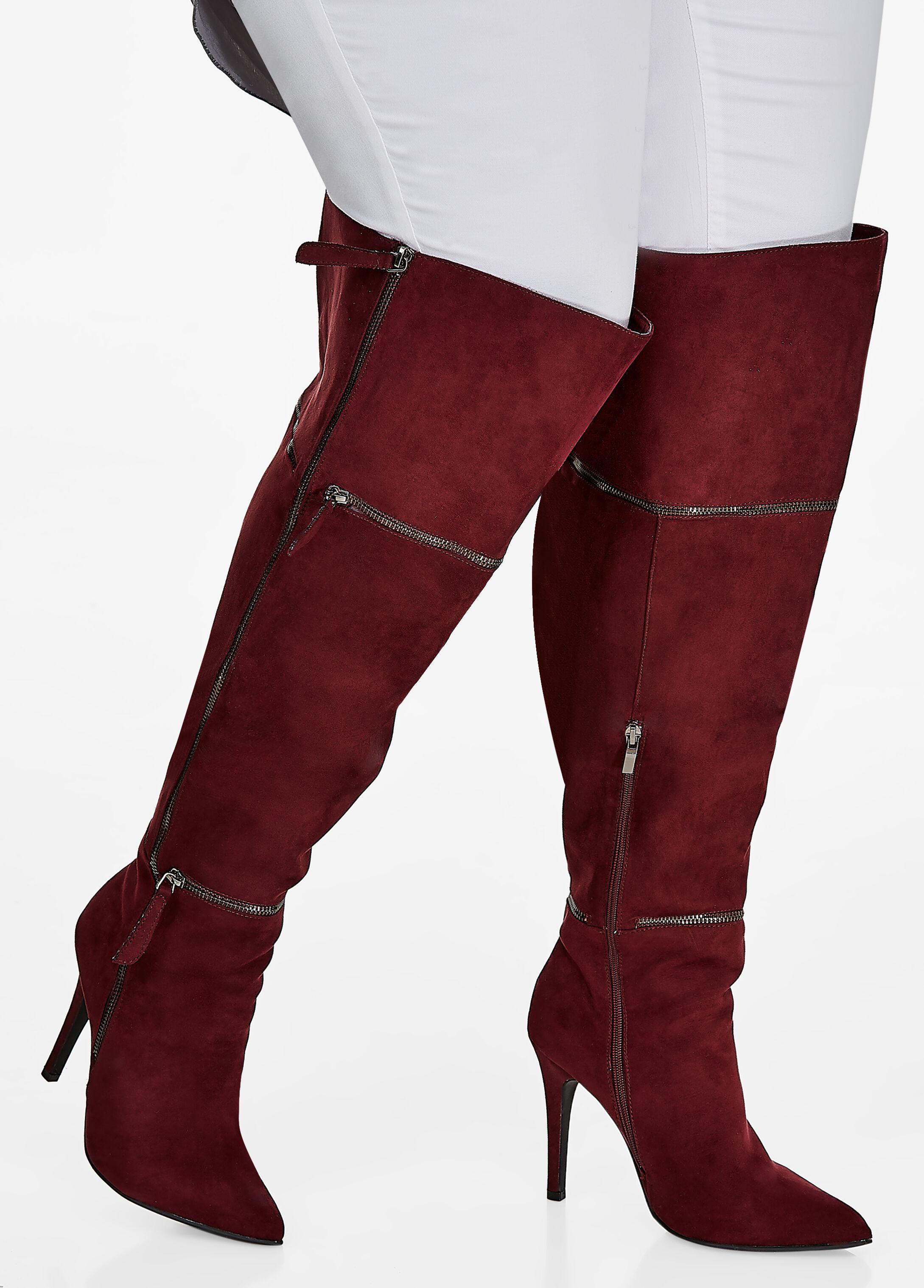 Over-the-Knee Multi-Zip Heeled Boots - Medium Width, Wide Calf