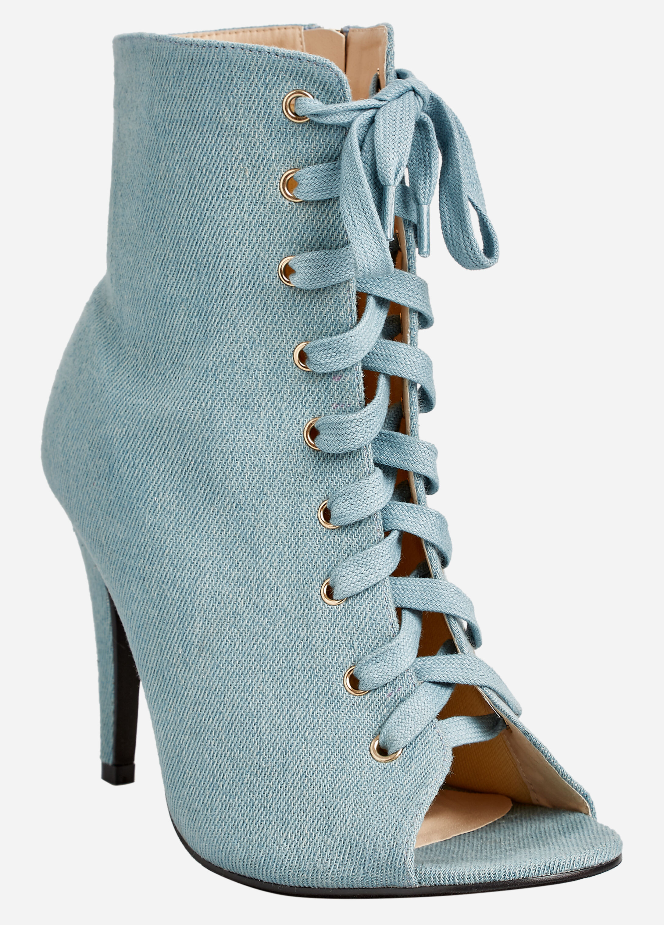 Lace Up Front Open Toe Boot - Wide Width
