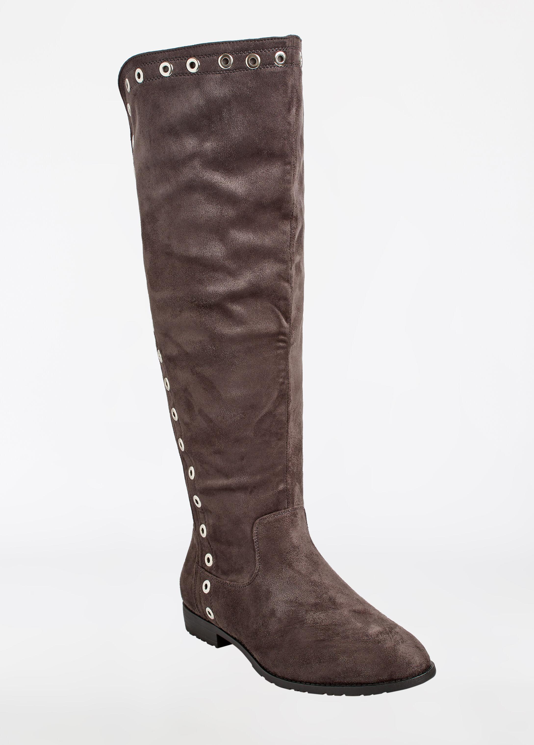Tall Side Grommet Faux Suede Boots - Wide Width