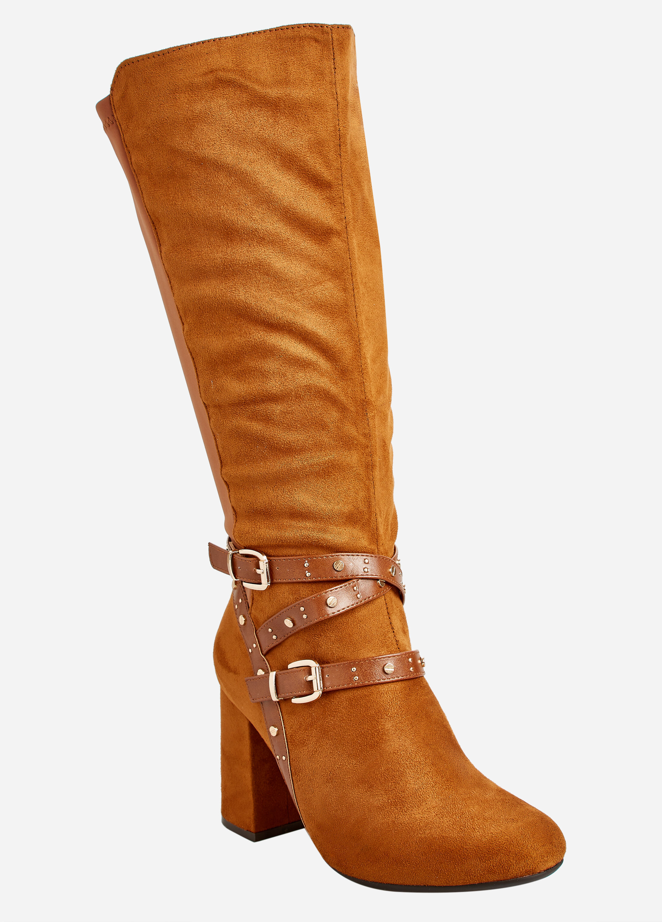 Belted Faux Suede Boots
