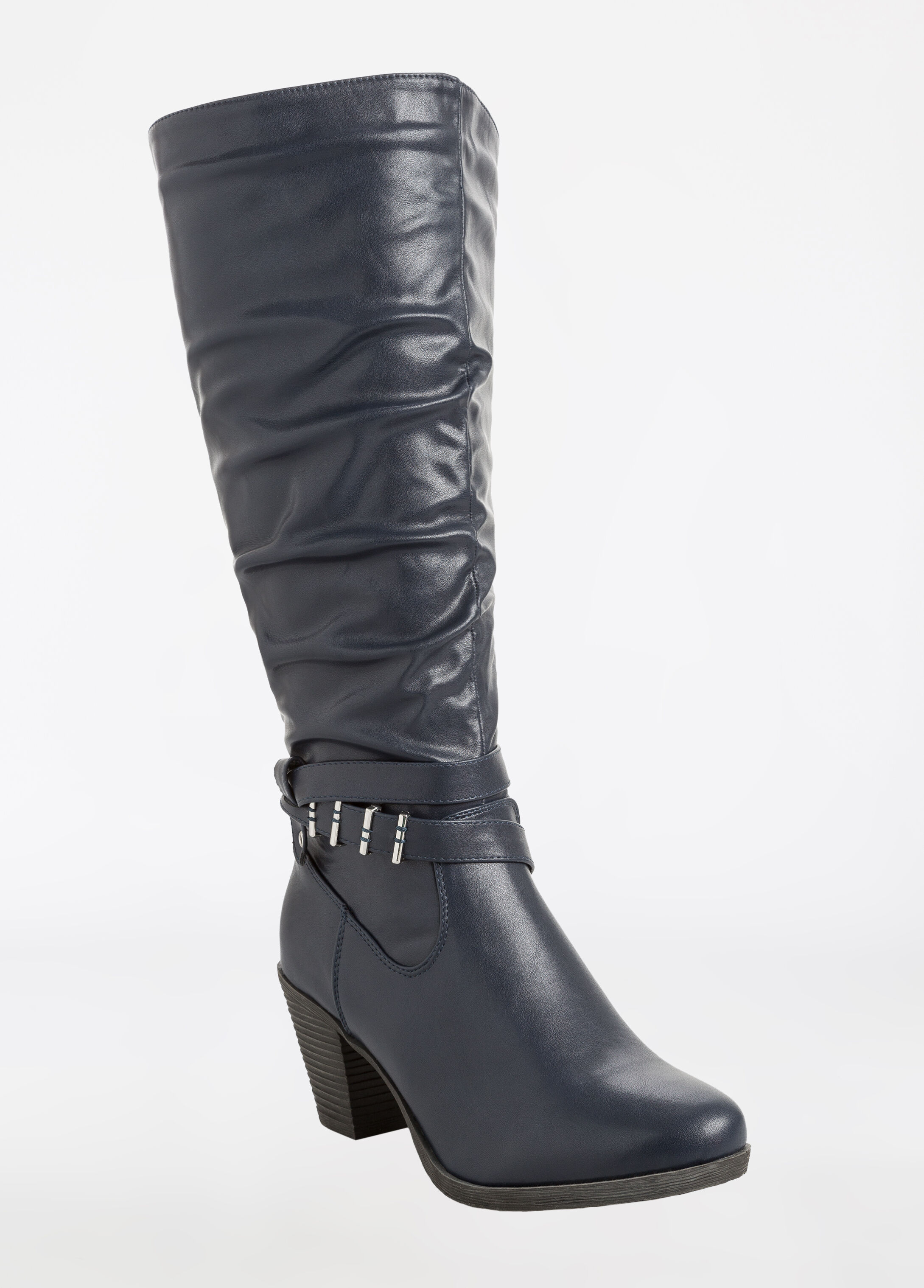 Faux Leather Shirred Calf Boot - Wide Width