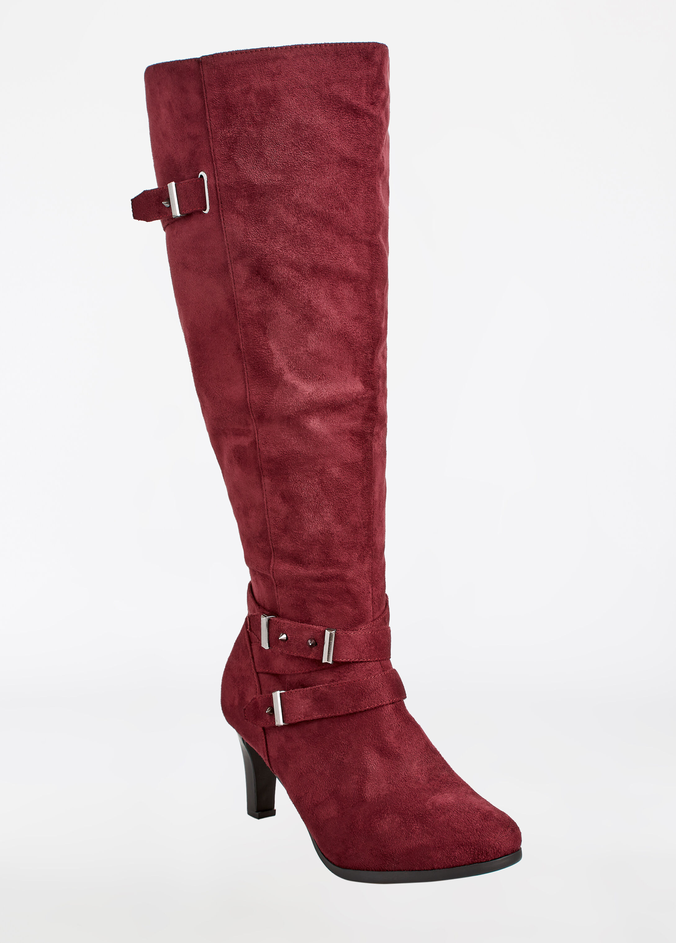 Faux Suede Tall Heeled Boot - Wide Width