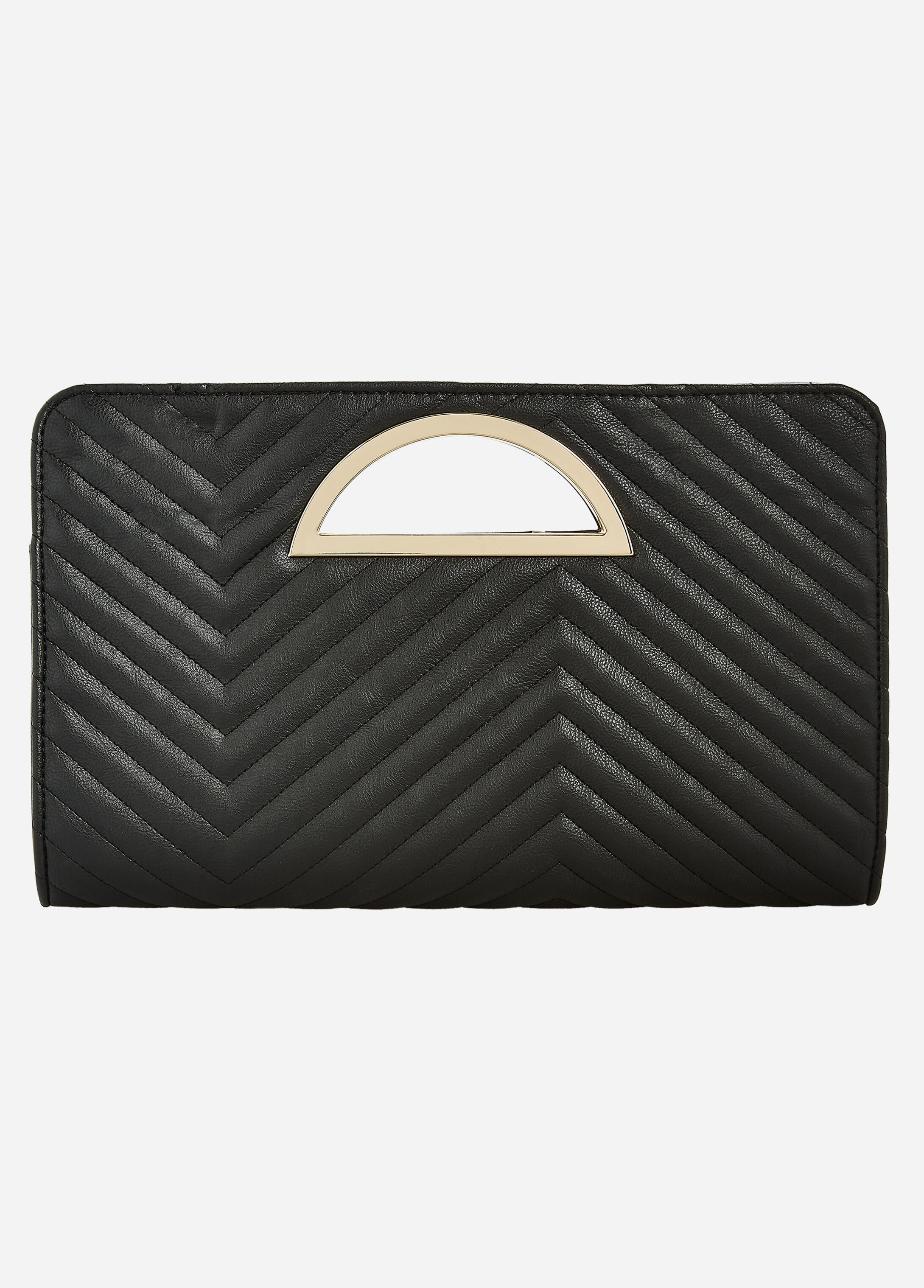 Chevron Quilted Gold Handle Clutch