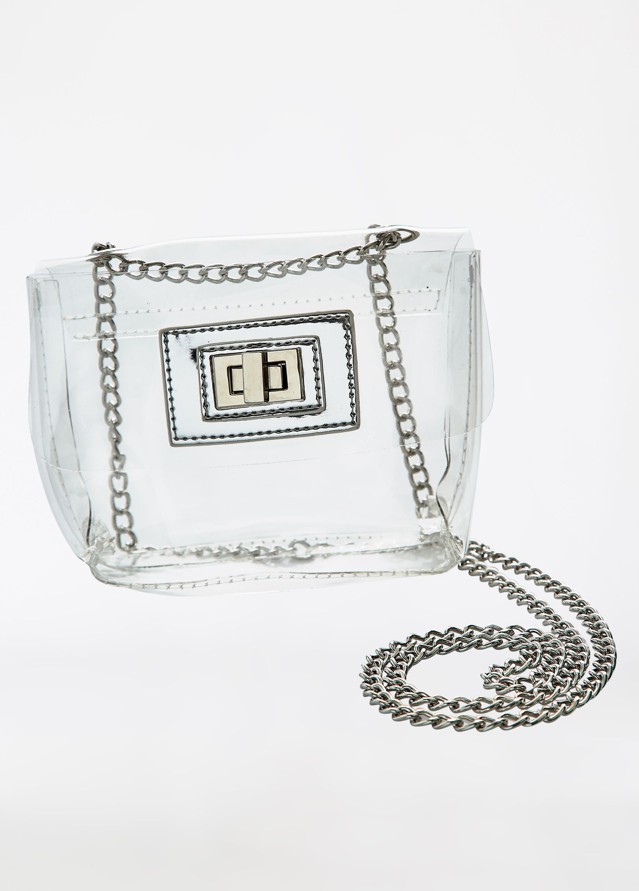 Clear Shoulder Bag with Metal Chain Link Strap