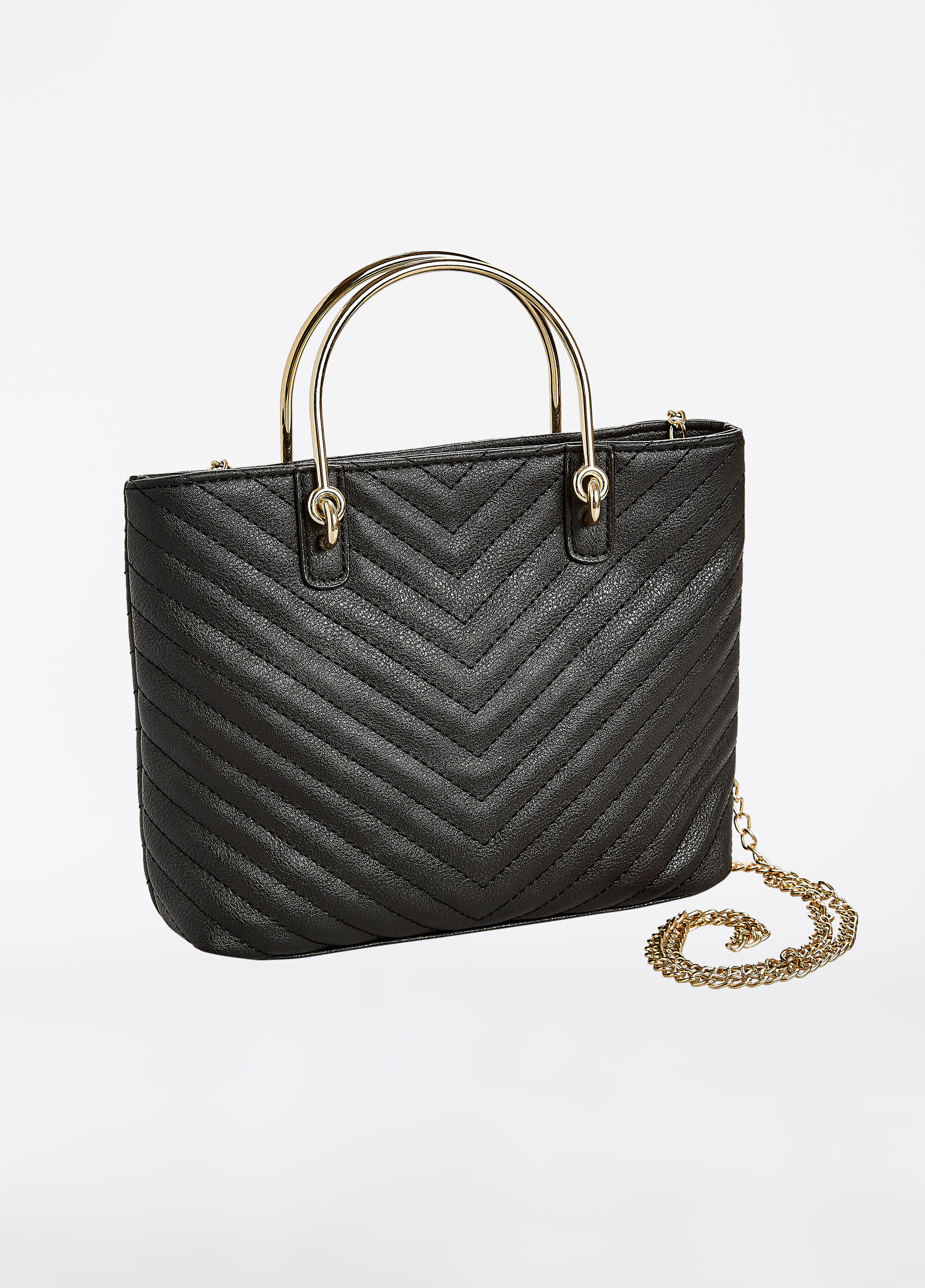 Chevron Quilted Chain Crossbody
