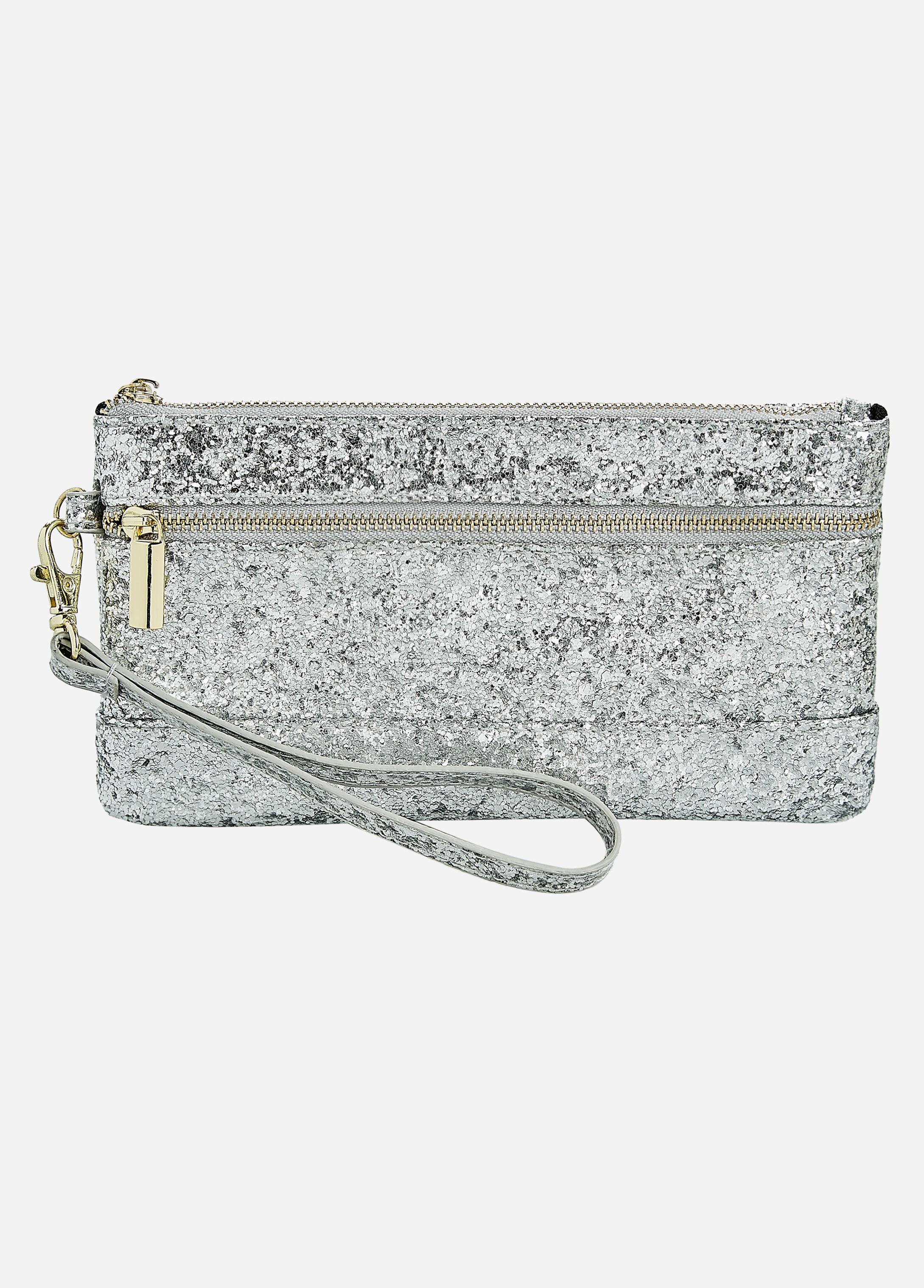 Silver Two-Pocket Glitter Wristlet