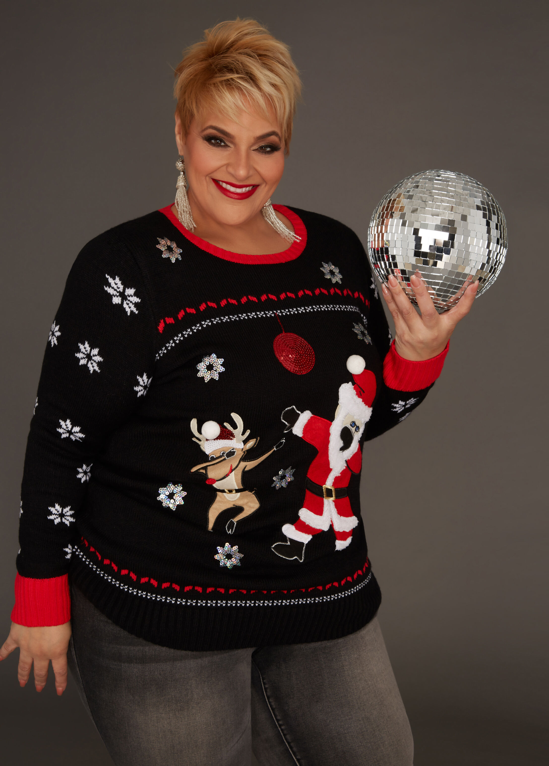 Plus Size Outfits - Santa Sweater with Sky High Ankle Jean