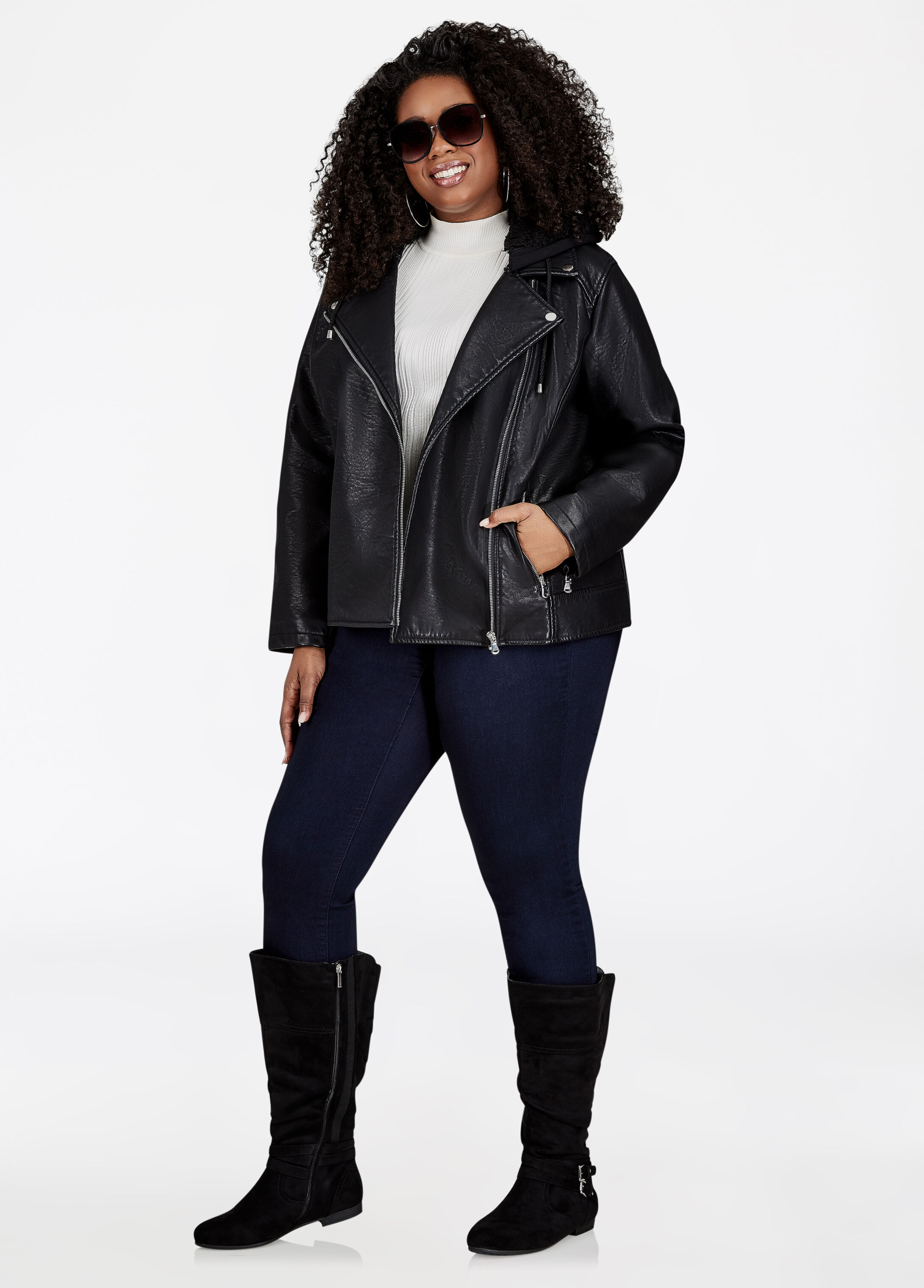 Plus Size Outfits - Moto Jacket with Iconic Legging and Boots