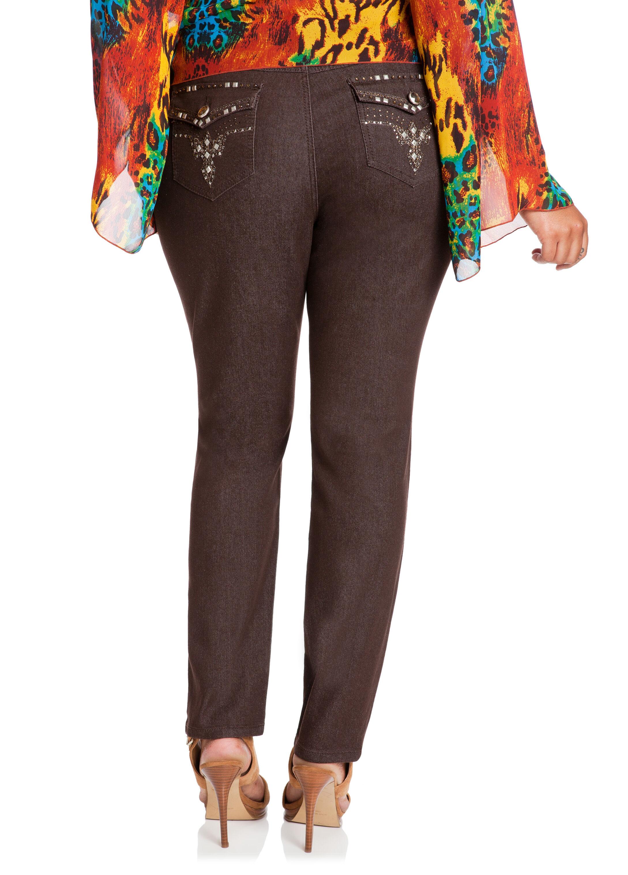Arrow Bling Flap Back Denim Pants