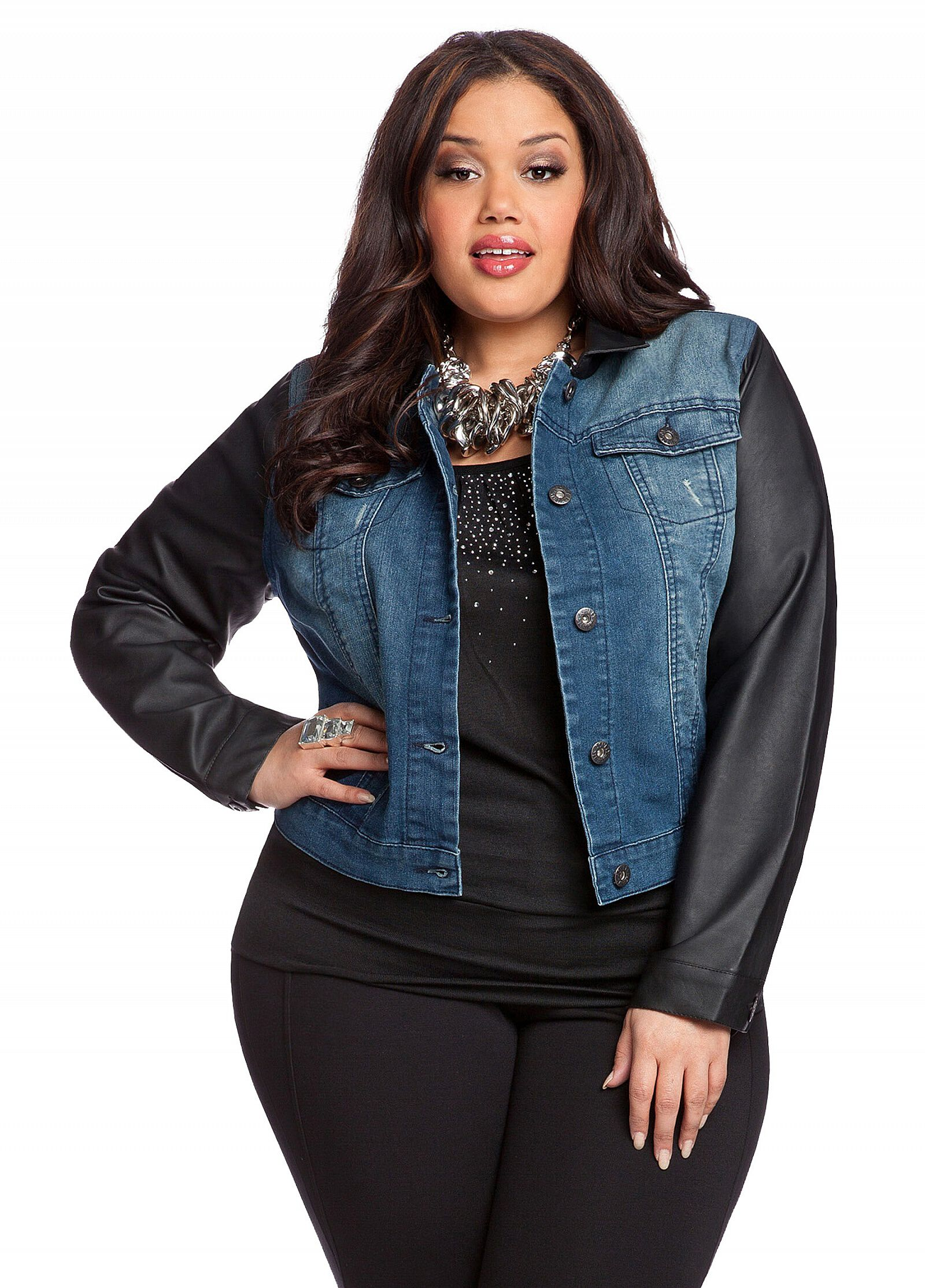 Faux Leather Sleeve Denim Jacket