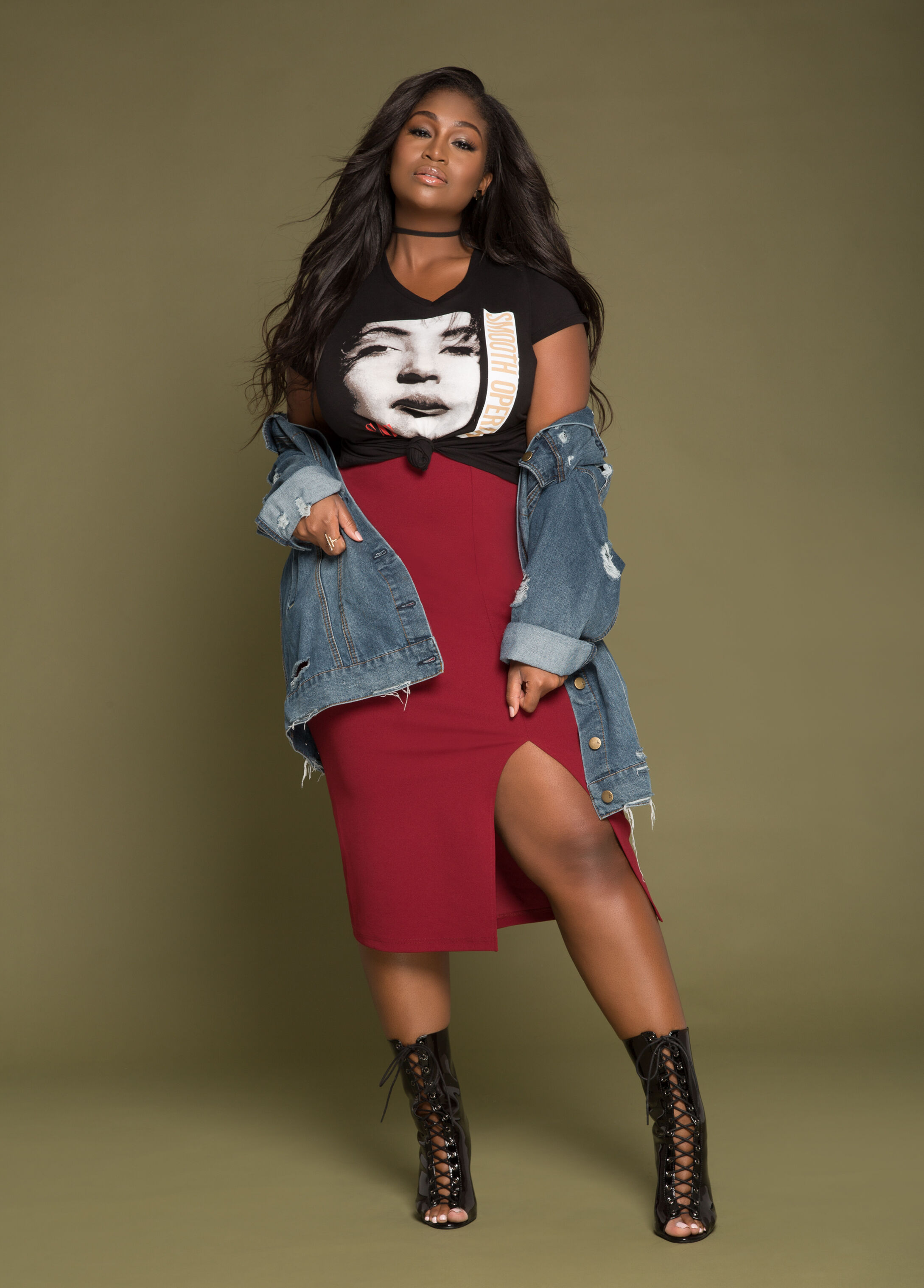 Plus Size Outfits - Graphic Tee with Midi Skirt and Denim Jacket