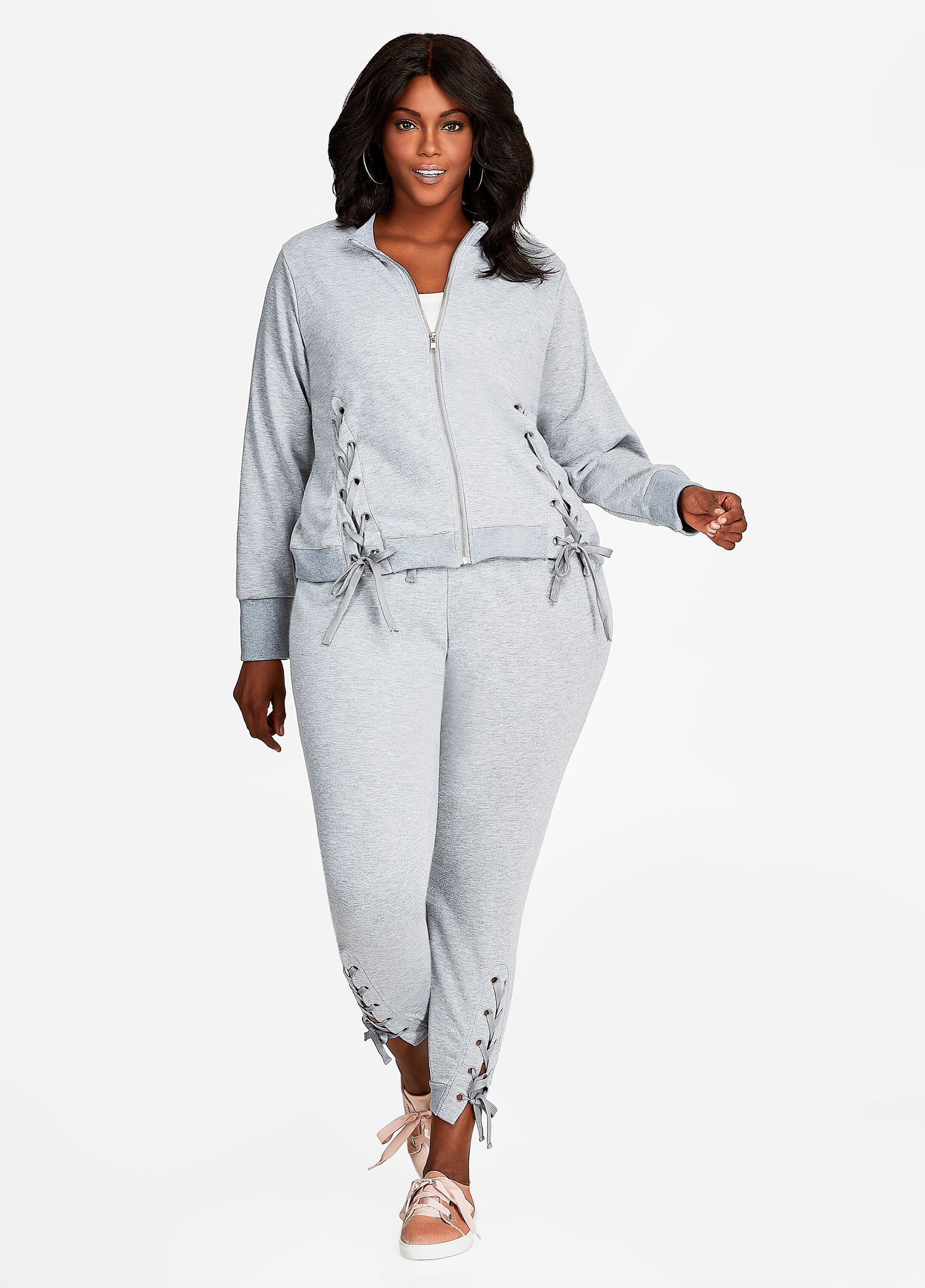 Plus Size Outfits - Lace Up Track Jacket and Jogger Athleisure Set