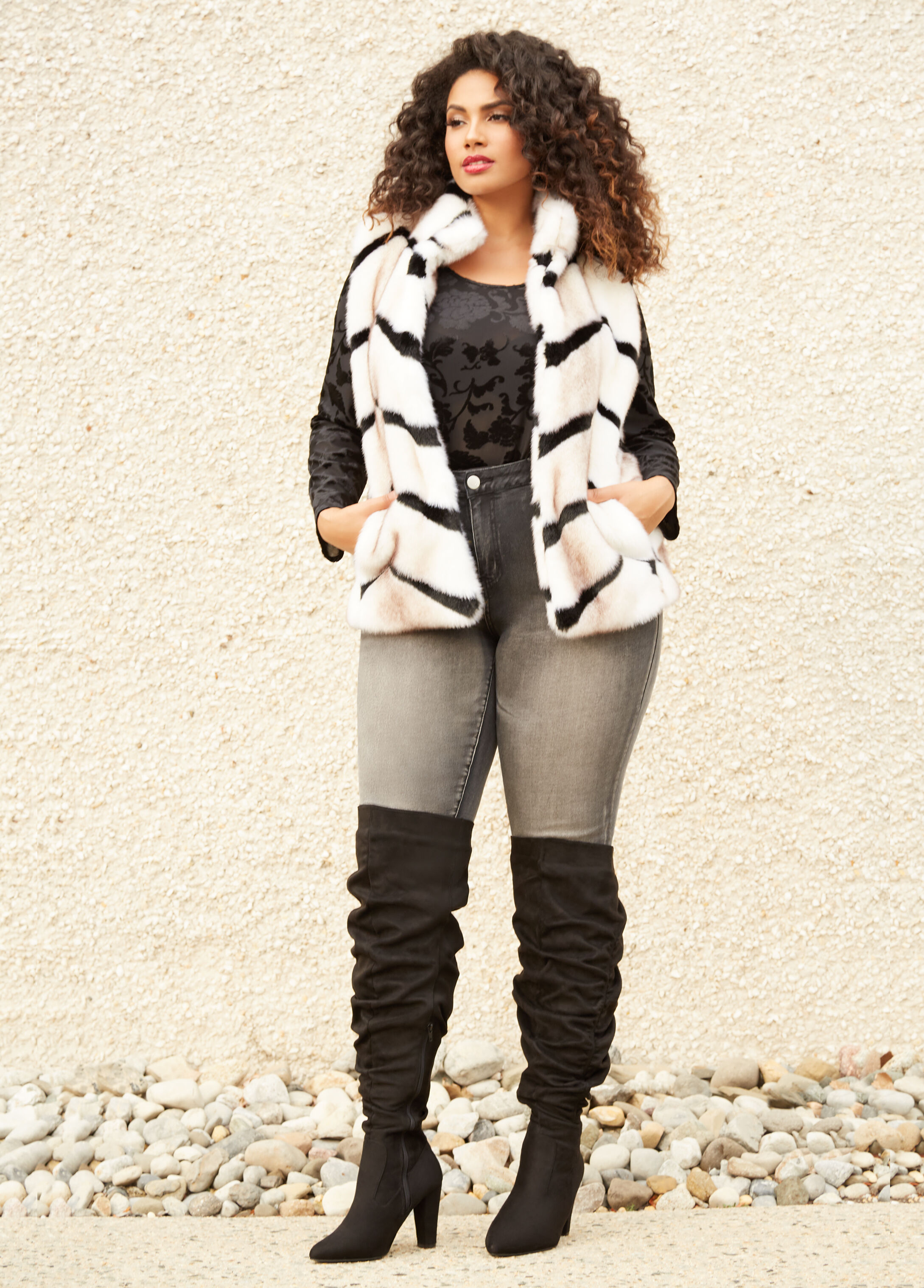 Plus Size Outfits - Faux Fur Vest with Burnout Sharkbite Top and Skinny Jean