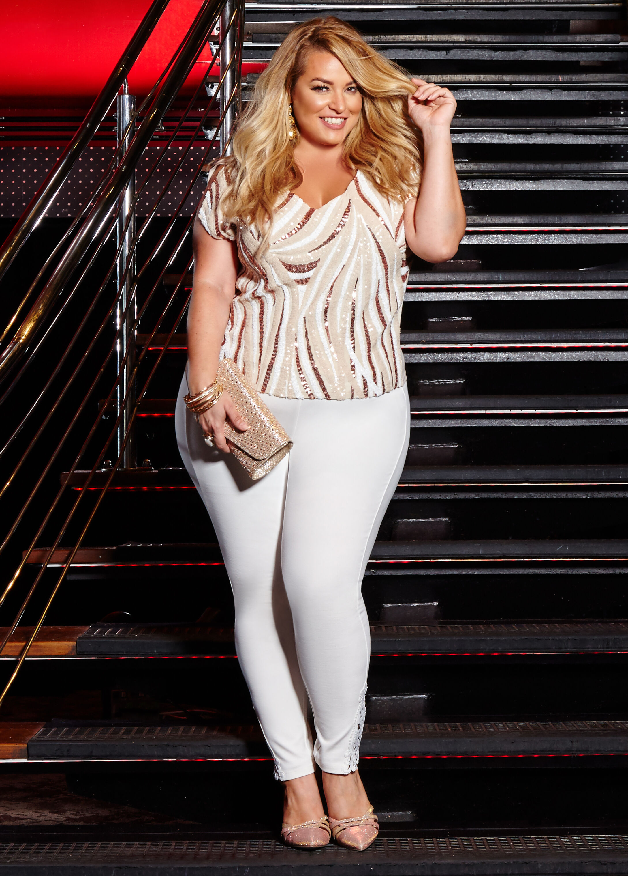 Plus Size Outfits - Sequin Top with Lace Hem Ponte Legging