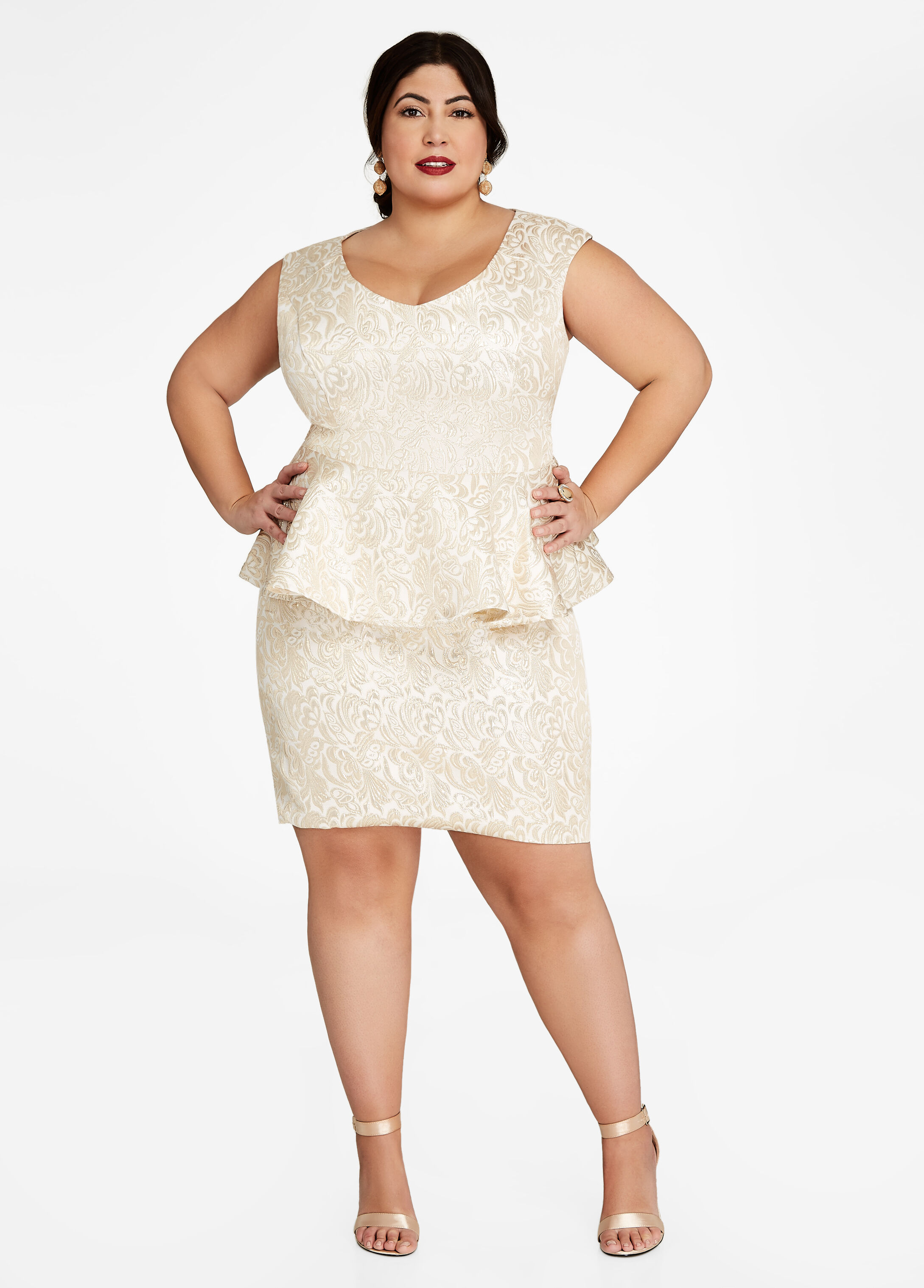 Plus Size Outfits - Gold Embroidered Peplum Top and Skirt Set