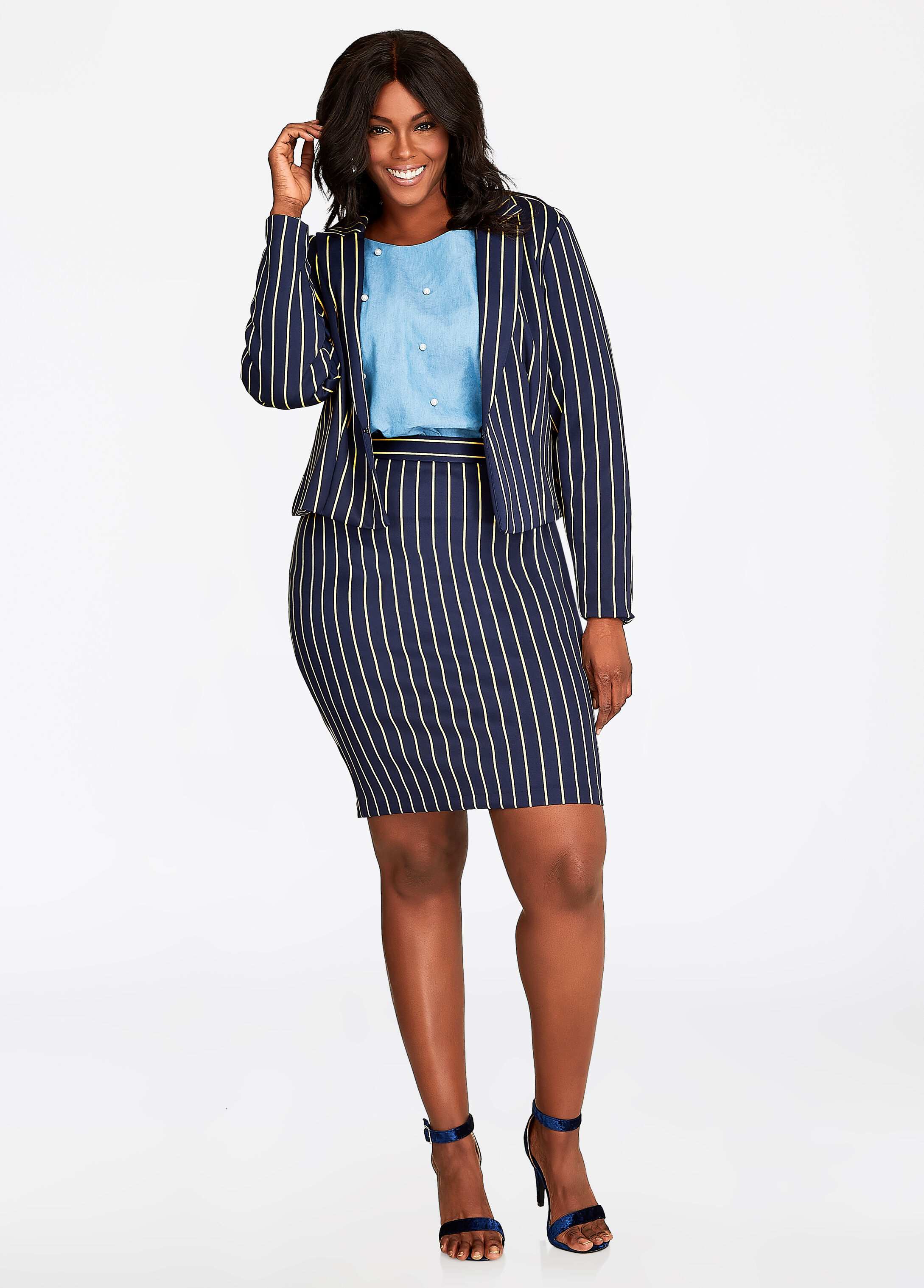 Plus Size Outfits - Pintstripe Crop Blazer and Pencil Skirt Set