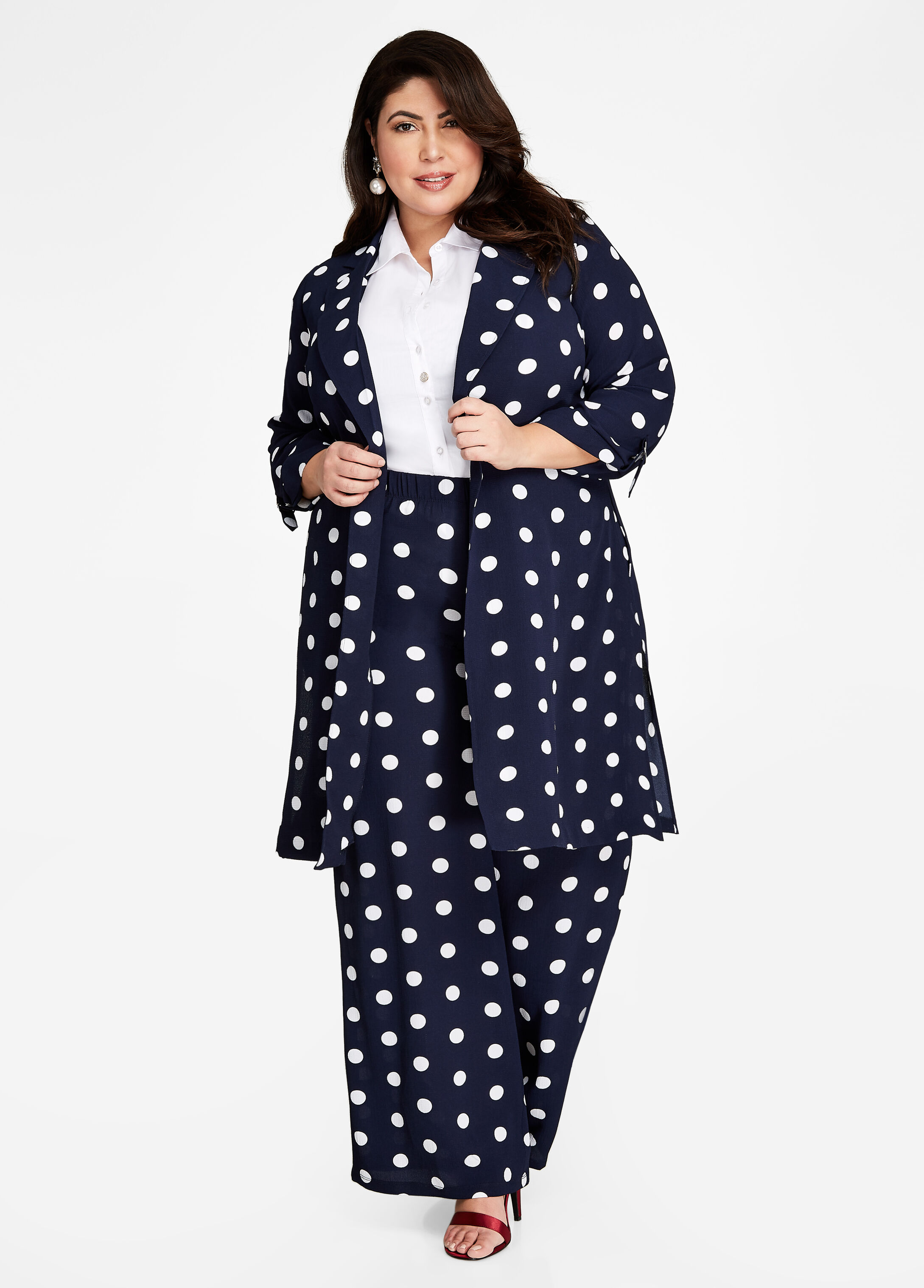 Plus Size Outfits - Polka Dot Duster and Palazzo Pant Set