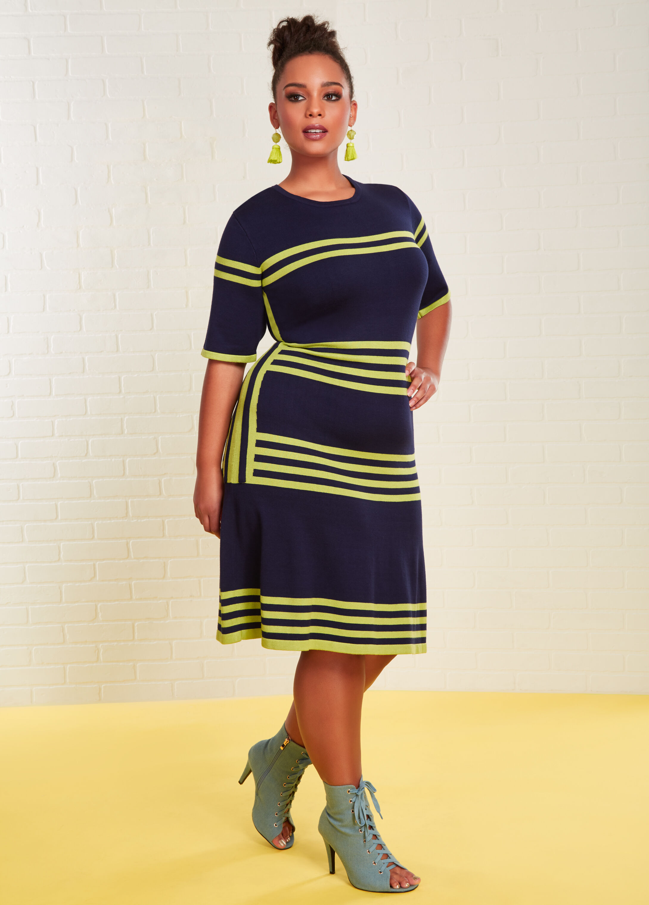 Plus Size Outfits - Colorblock Stripe Skater Dress with Denim Bootie