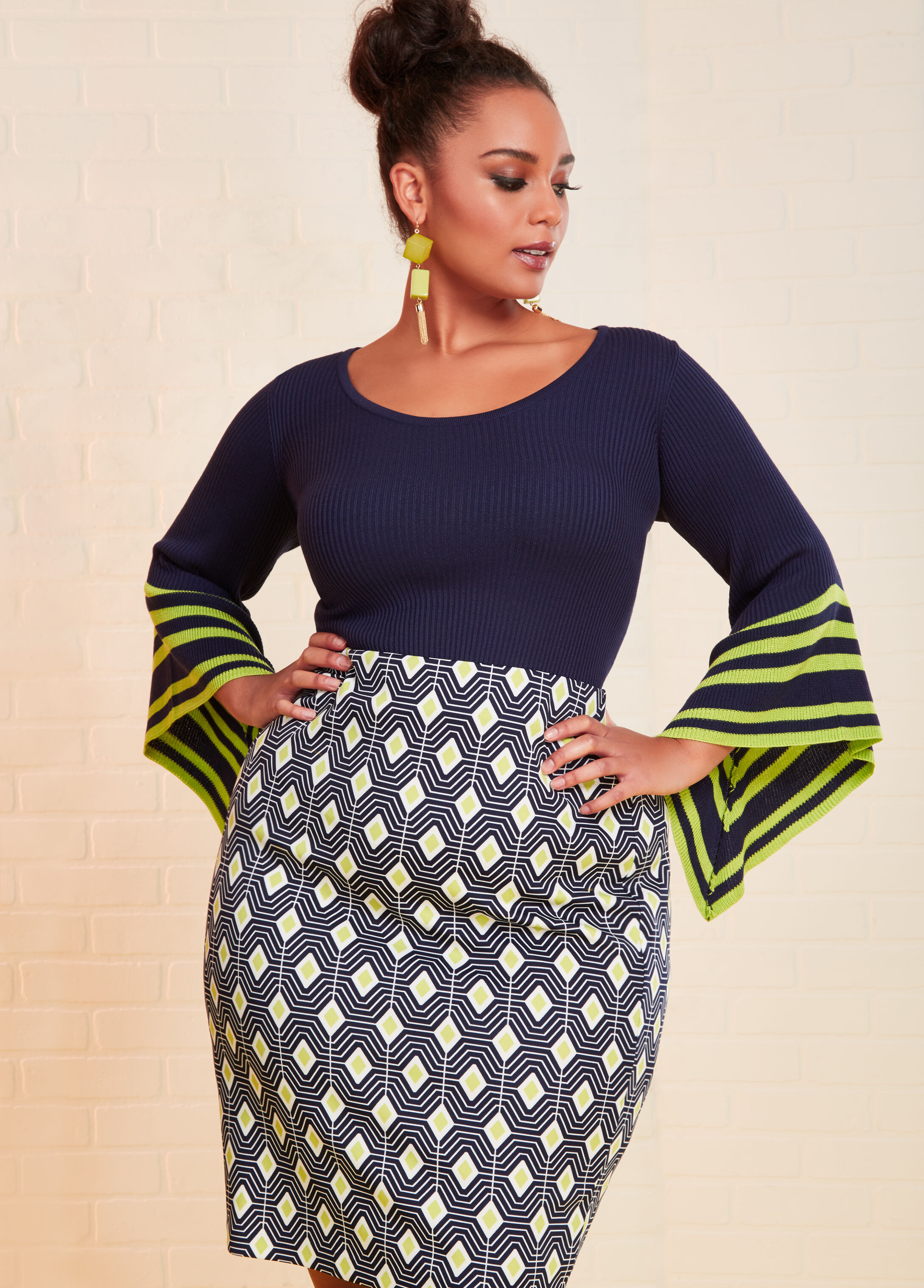 Plus Size Outfits - Striped Sleeve Sweater with Diamond Printed Skirt