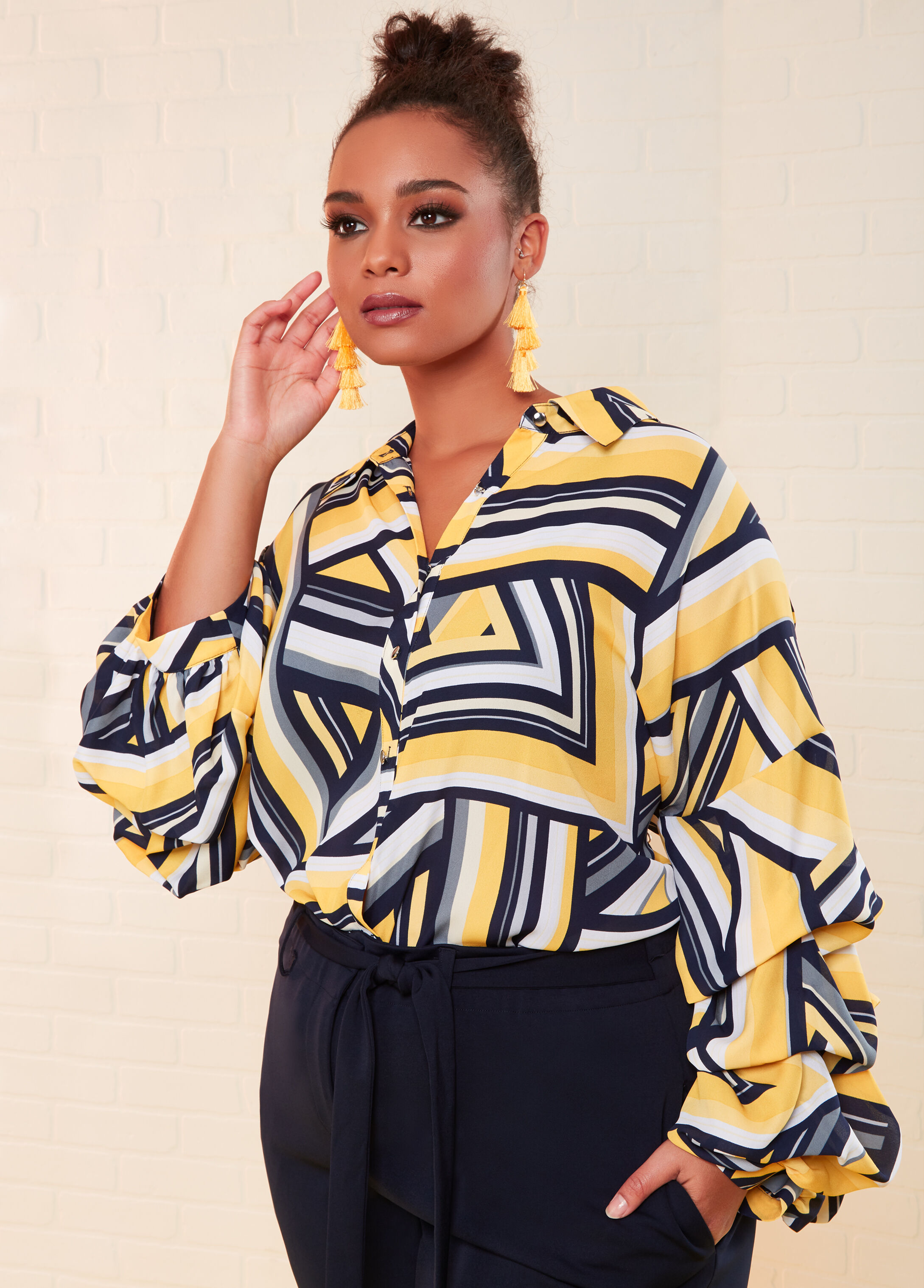 Plus Size Outfits - Geo Print Bubble Sleeve Blouse with Trouser