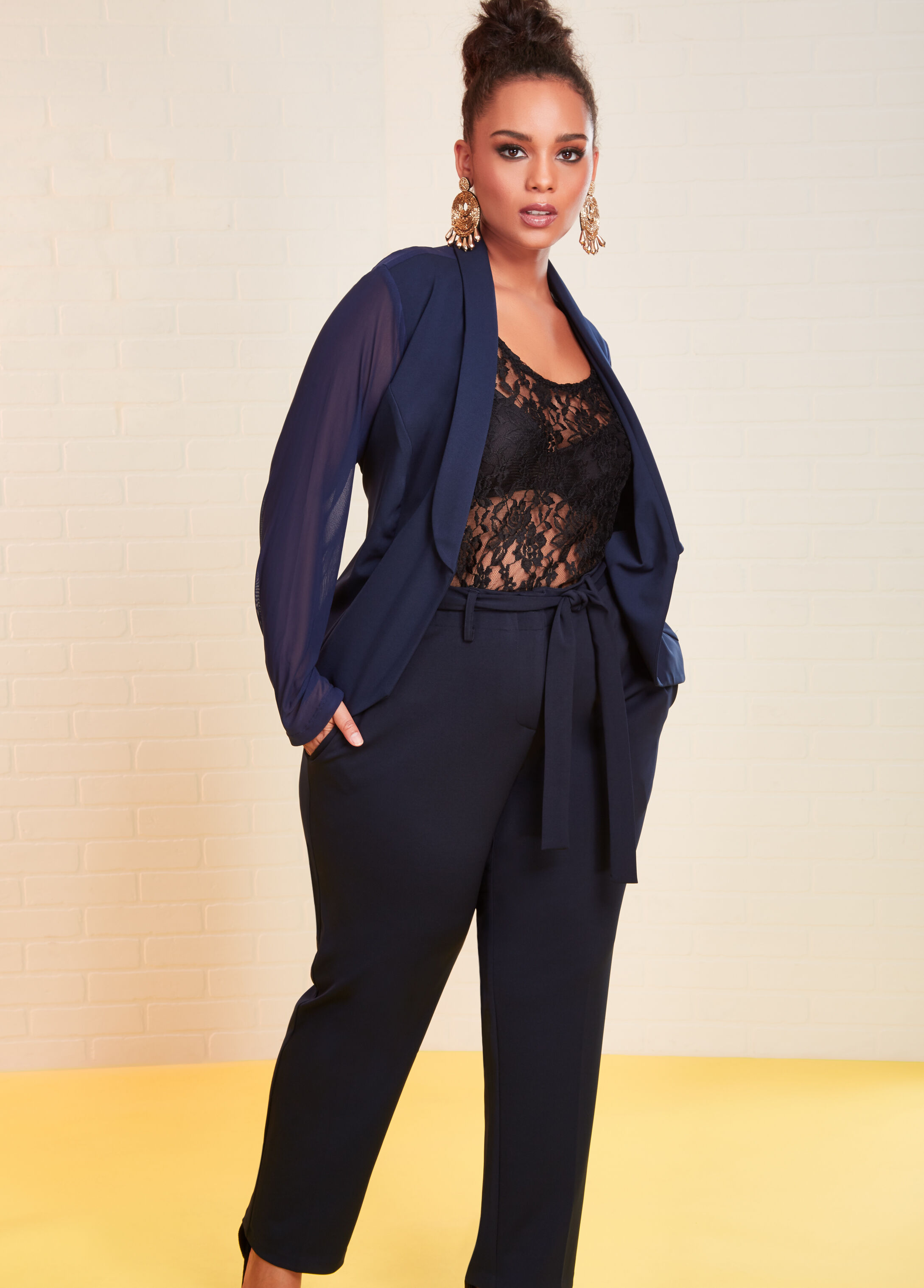 Plus Size Outfits - Mesh Ponte Blazer with Lace Cami and Trouser