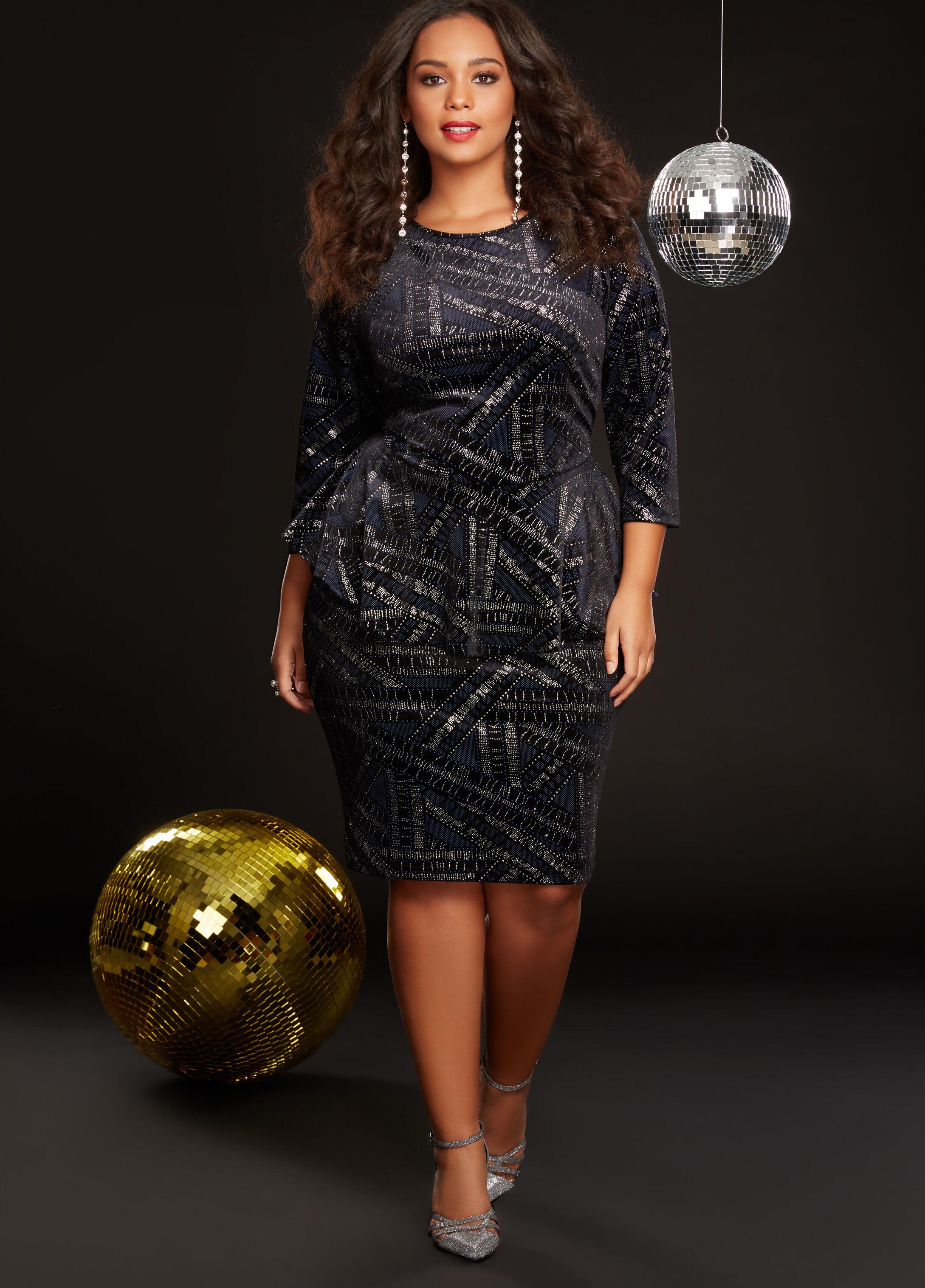 Plus Size Outfits - Velvet Glitter Two Piece Dress Set