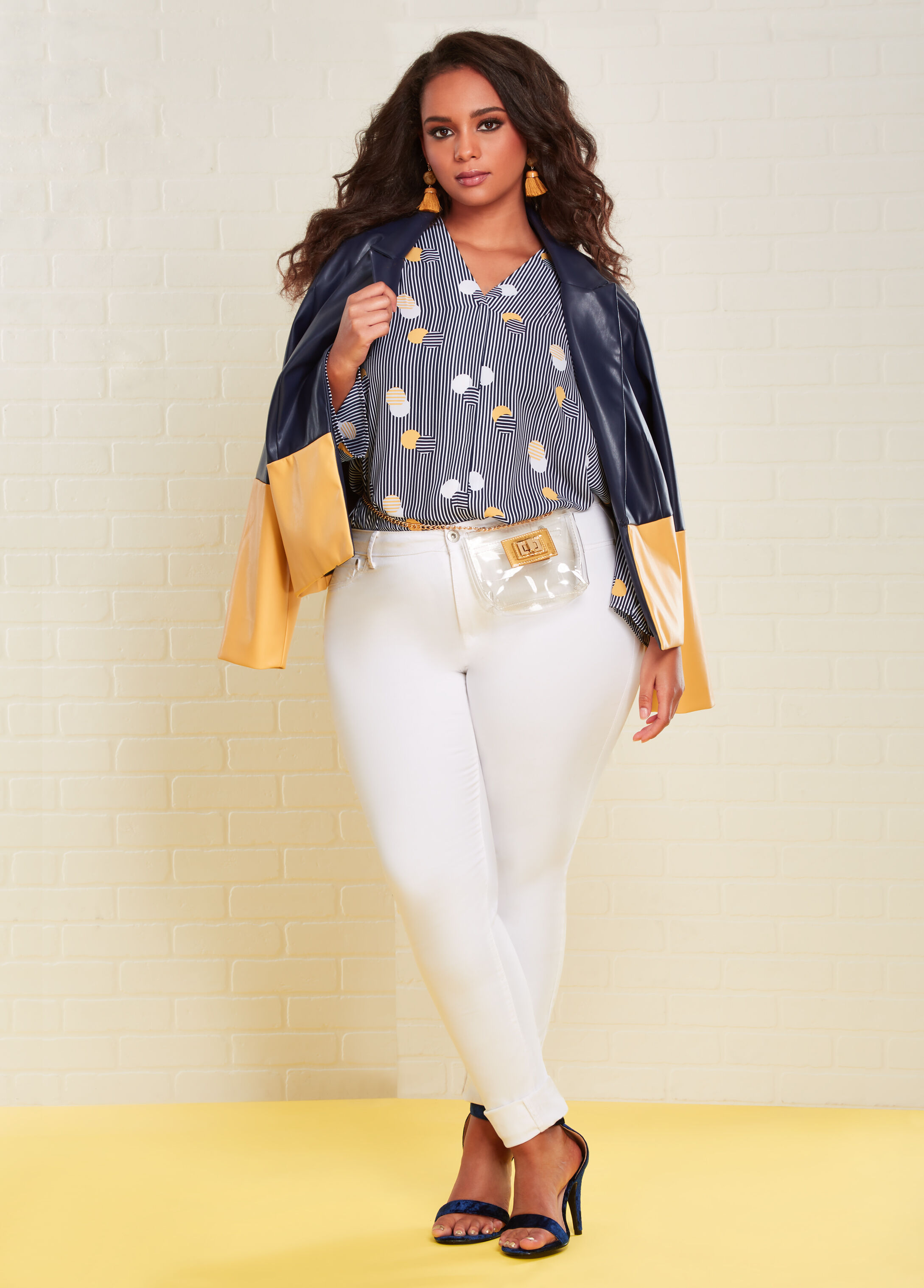 Plus Size Outfits - Dot and Stripe Blouse with Blazer and Jeans