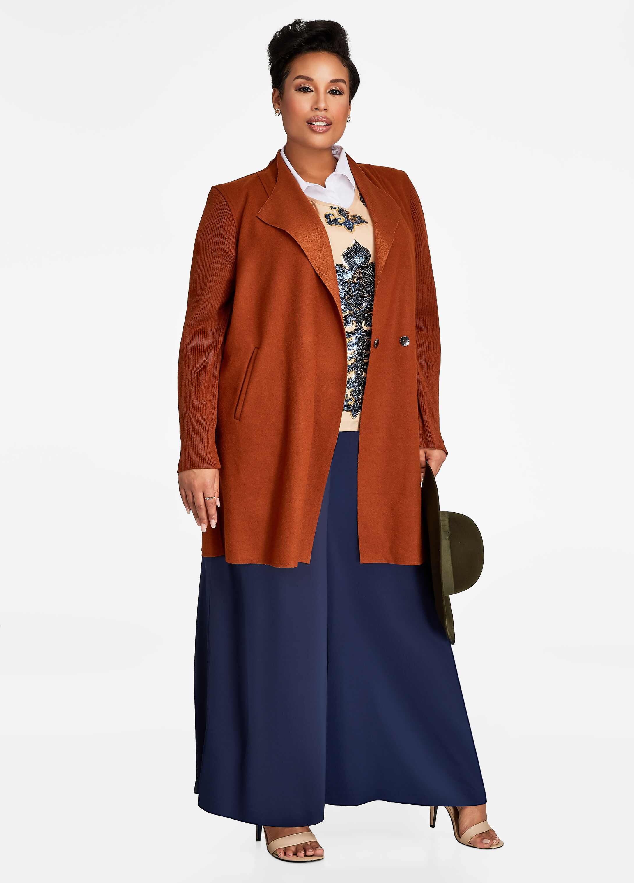 Plus Size Outfits - Coat with Sequin Top and Wide Leg Pants